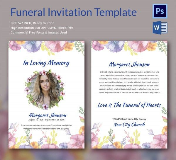 Sample Funeral Invitation Template   11+ Documents In Word, PSD  Funeral Invitation Templates