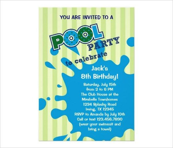 Pool Party Invitation Template Word - Themesflip.Com