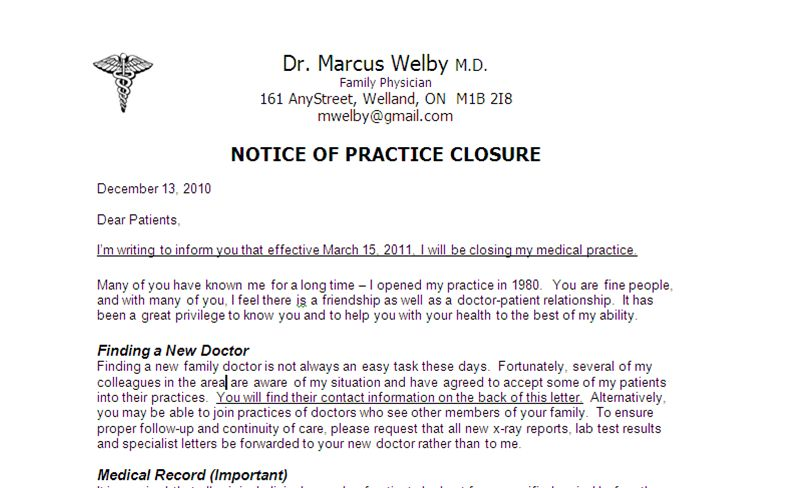 Notification to Patients - Close Your Medical PracticeClose Your ...