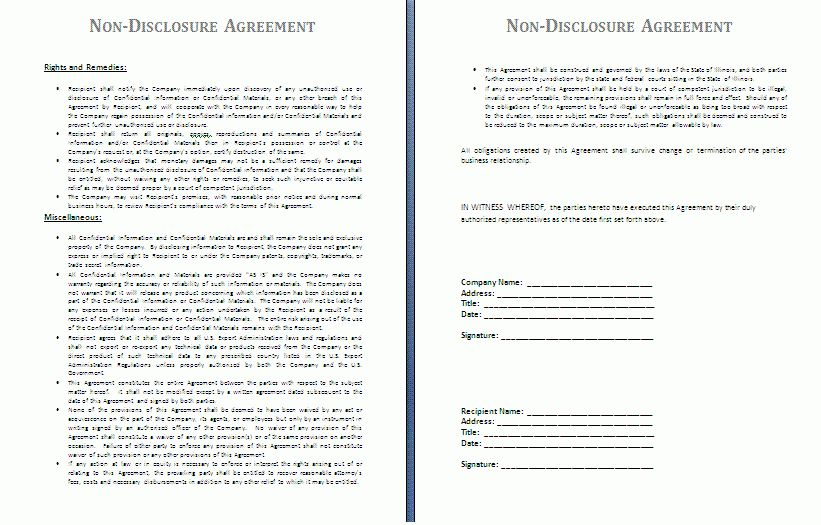 Non-Disclosure Agreement Template | Free Agreement Templates