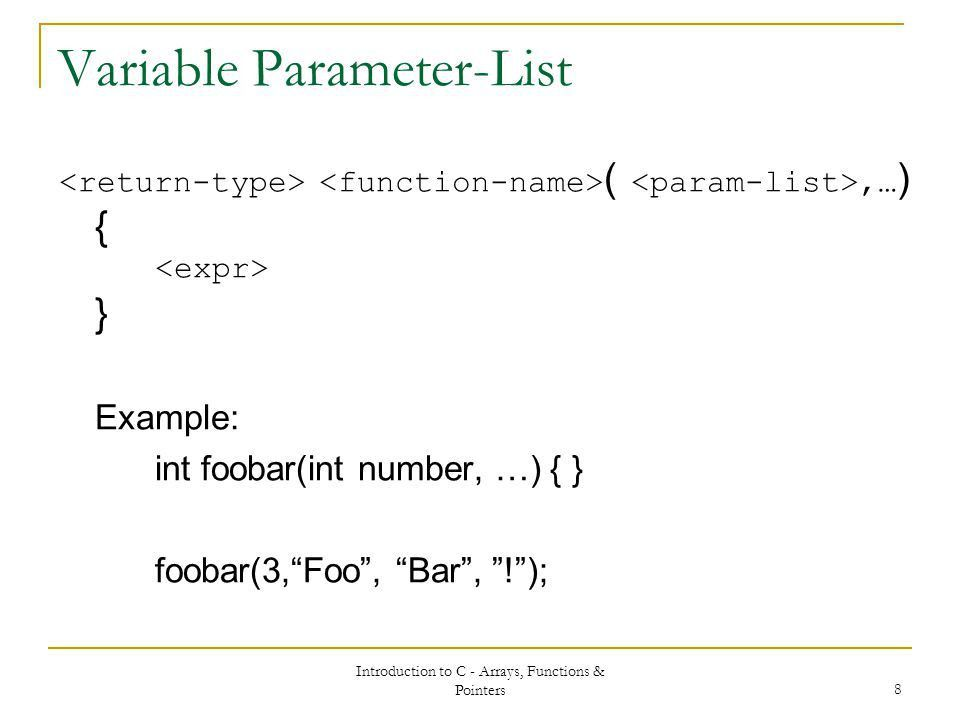 UBC104 Embedded Systems Functions & Pointers. - ppt download
