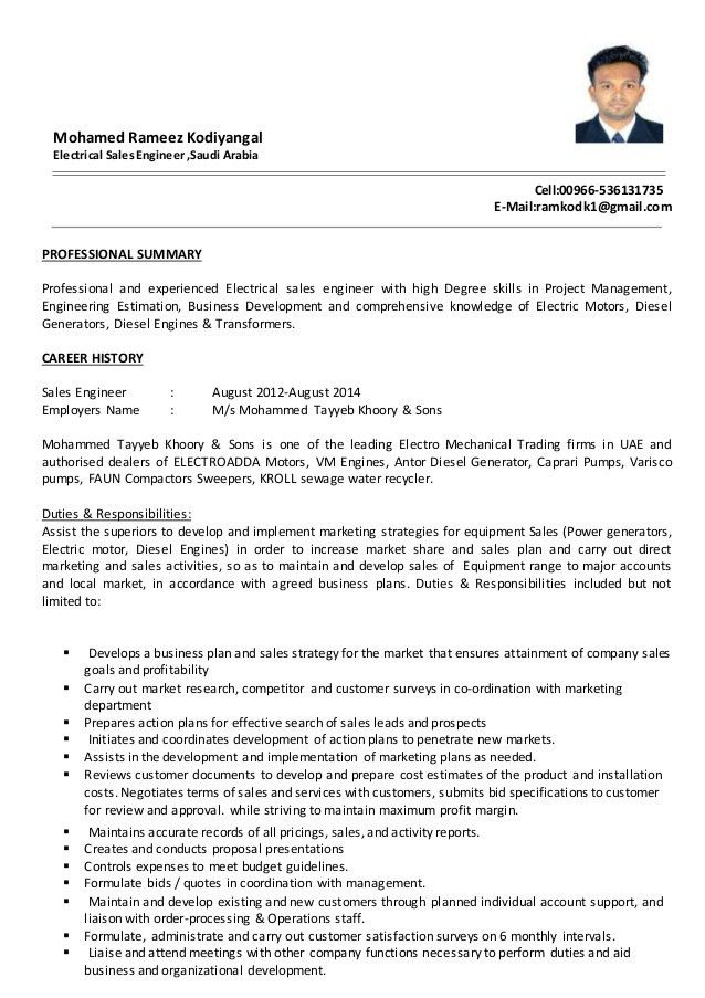 sales engineer resume sample engineer resume example sales