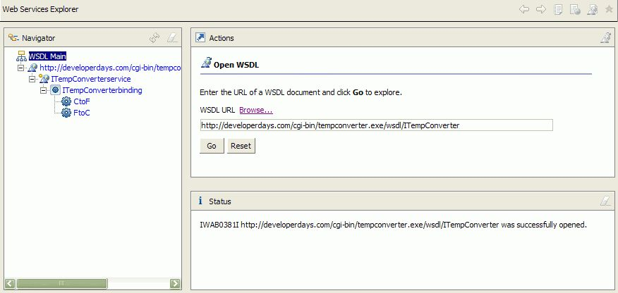 Using the WSDL Explorer