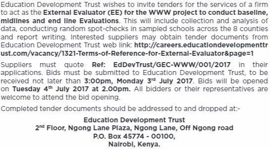 2017 Education Development Trust Kenya Evaluator Services Tender ...