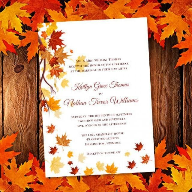 "Printable Wedding Invitation Template ""Falling Leaves"" Make Your ..."