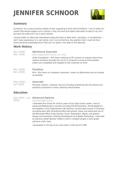 Warehouse resume examples
