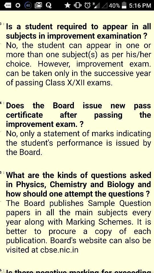 Are the students giving improvement exams of CBSE class 12 ...