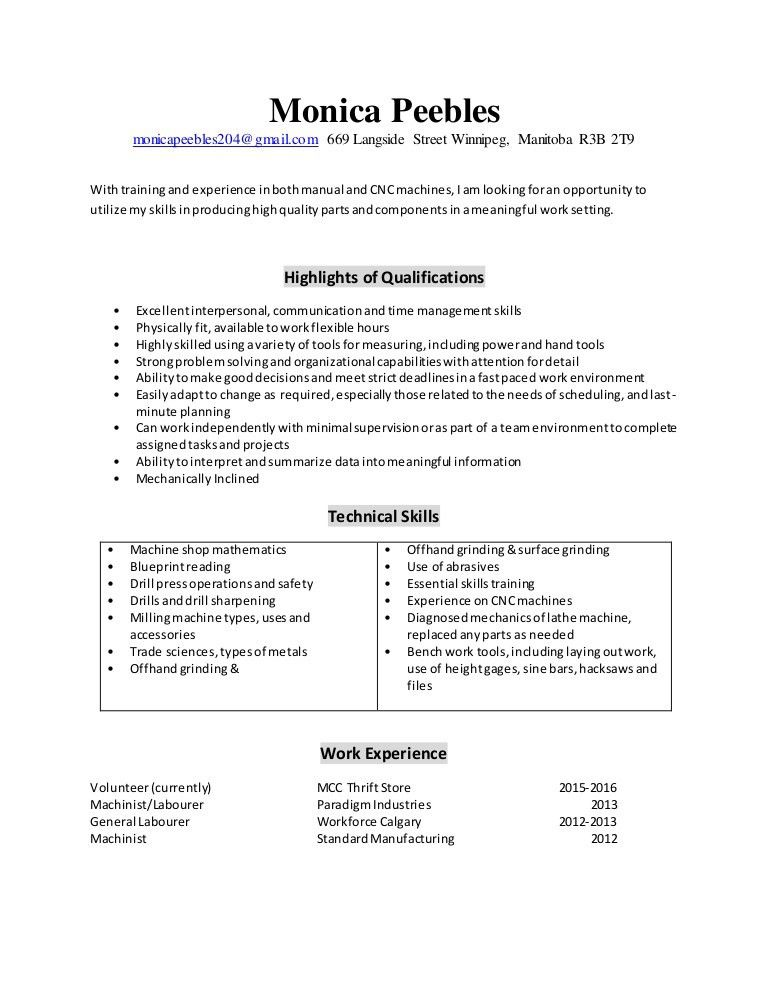 Machinist Resume 2016
