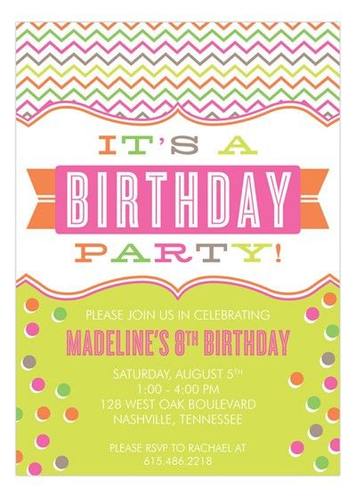 Kids Party Wording Ideas @ Polka Dot Design