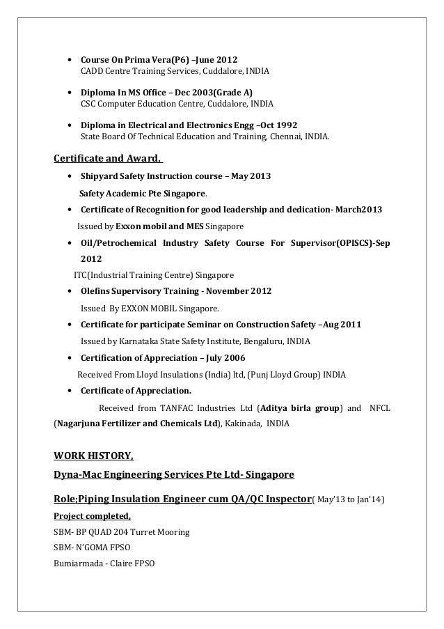 K.VIJAYAKUMAR CV FOR FIELD ENGINEER- PAINTING INSULATION FIREPROOFING…