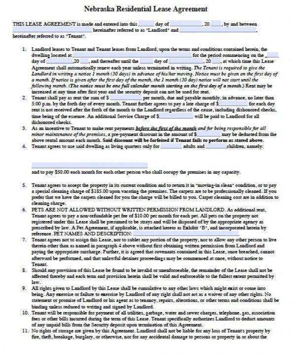 Free Nebraska Residential Lease Agreement | PDF | Word (.doc)