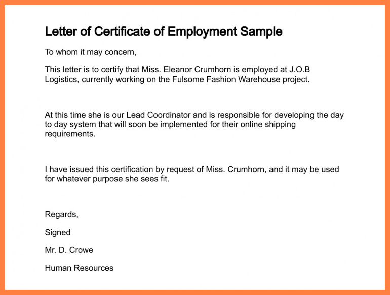 Sample Certificate Of Employment Request Letter - Mediafoxstudio.com