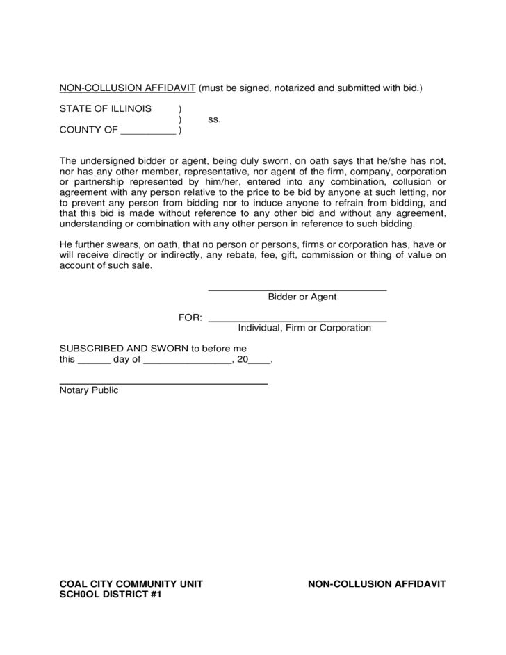 Non-Collusion Affidavit Form - Illinois Free Download