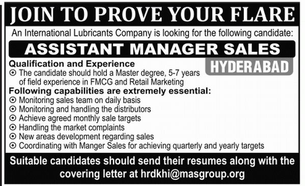 Assistant Manager Sales Job, International Lubricants Company Job ...