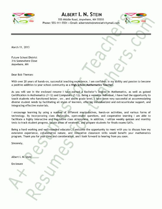 Math Teacher Cover Letter Sample | Teacher and Principal Cover ...