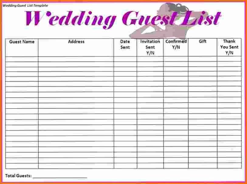 4+ wedding guest list spreadsheet | Expense Report