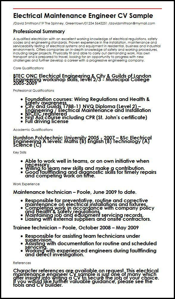 Electrical maintenance engineer CV sample | MyperfectCV