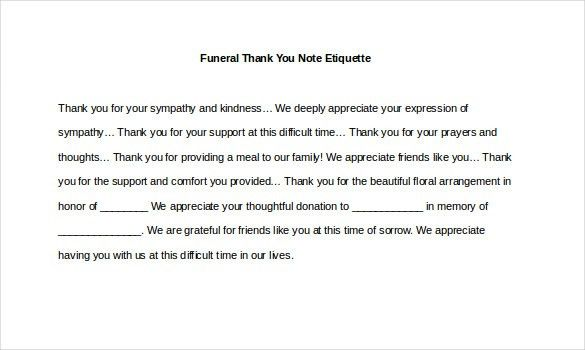 8+ Funeral Thank You Notes – Free Sample, Example, Format Download ...