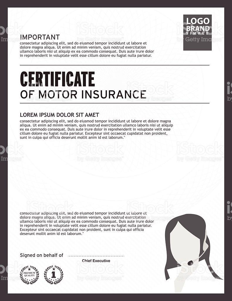 Certificate Of Motor Insurance Template stock vector art 466545256 ...