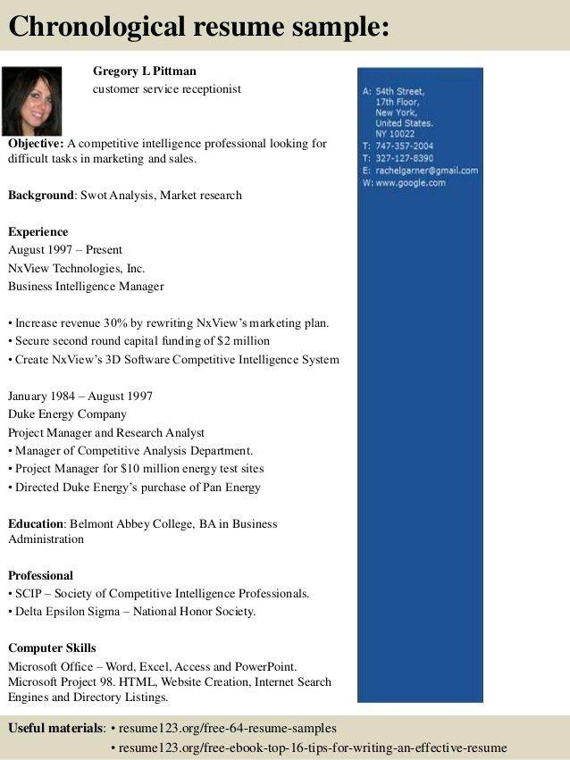 Top 8 customer service receptionist resume samples