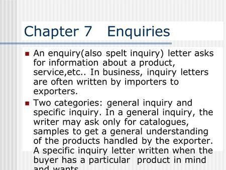 INQUIRY LETTER AND RESPONSE OF INQUIRY LETTER - ppt video online ...