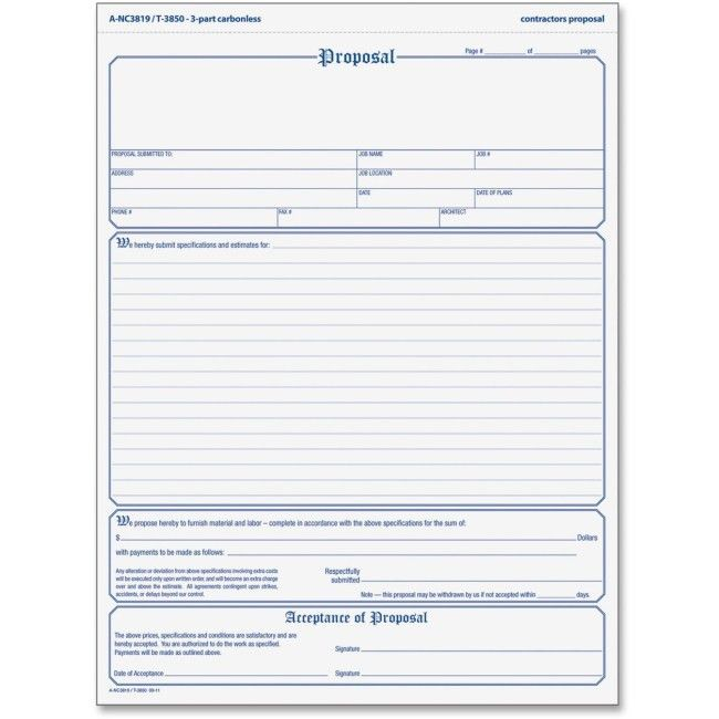 TOPS 3850 In Triplicate Proposal Form 3 Part - Carbonless Copy ...