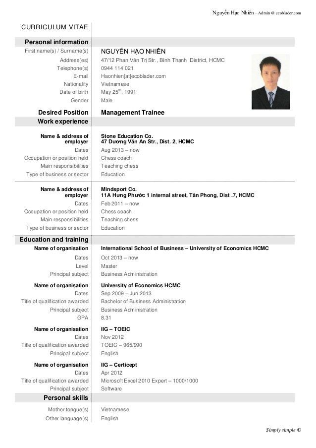 Amazing Demo Of Resume For Job Gallery - The Best Curriculum Vitae ...