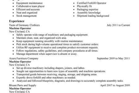 production machine operator resume for job description, Machine ...