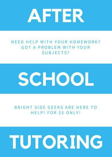Blue and White Stripes Tutor Flyer - Templates by Canva