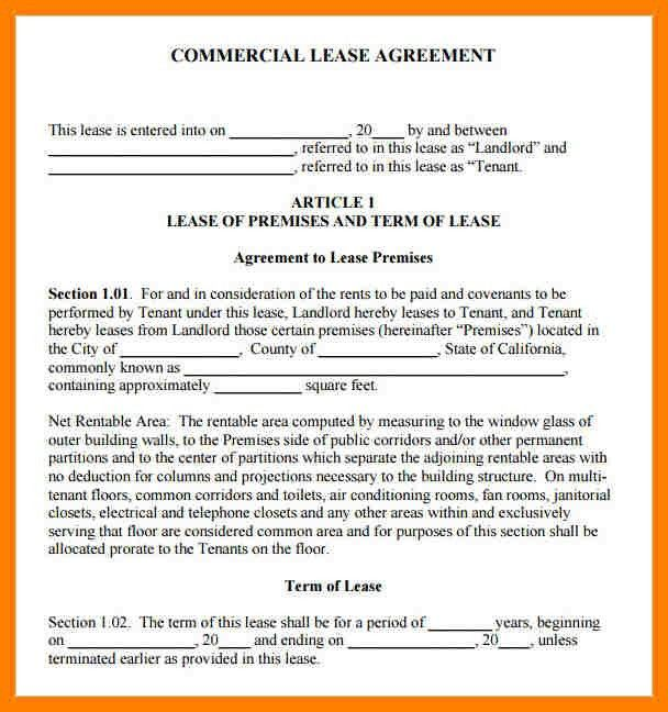 9+ sample commercial lease agreement | packaging clerks