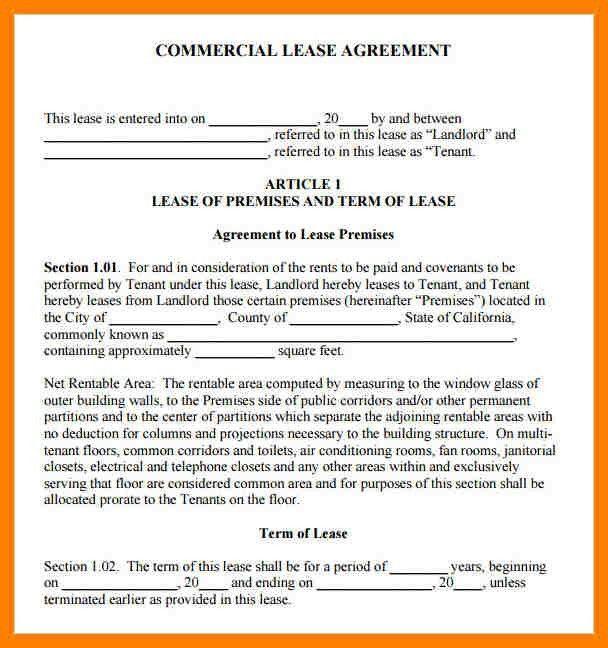 9+ sample commercial lease agreement | packaging clerks