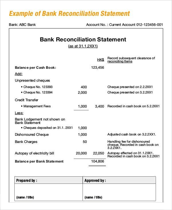 Bank Reconciliation Example - 5+ Free Word, PDF Documents Download ...