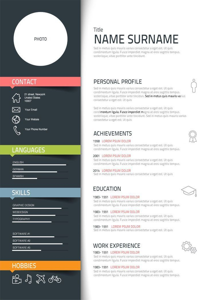 Designer Resume Sample. Resume Template Flat Design Vector Free ...