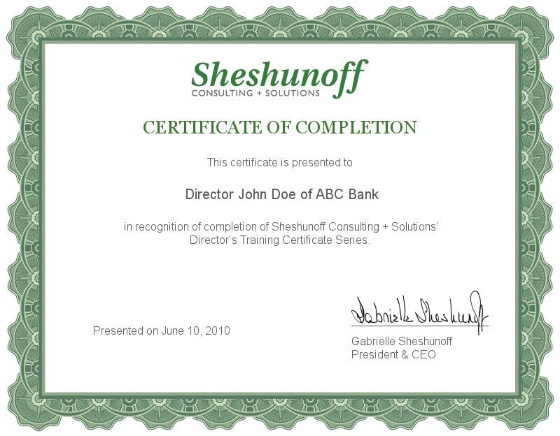 Director's Training Certificate Series Samples: Sheshunoff ...