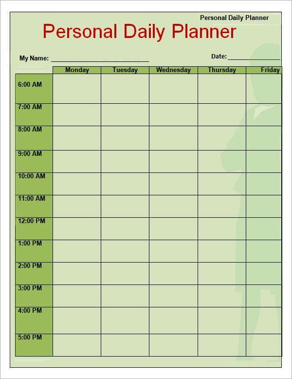Daily Planner Template -7+ Download Documents in PDF, Word