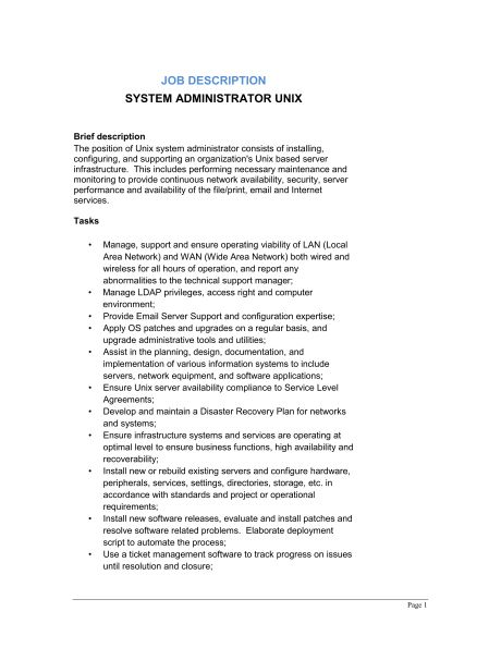 System Administrator Unix Job Description - Template & Sample Form ...