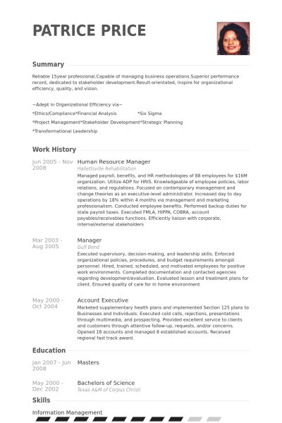Human Resource Manager Resume samples - VisualCV resume samples ...