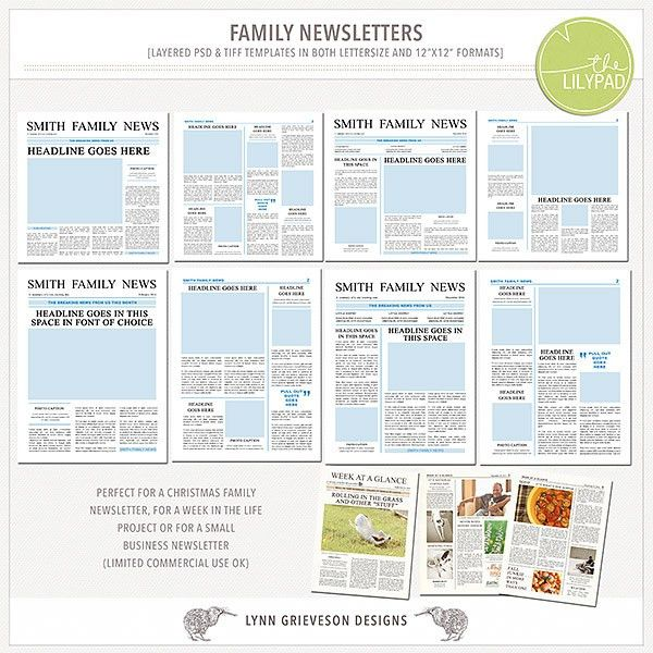 Family newsletter templates by The Lilypad designer Lynn Grieveson