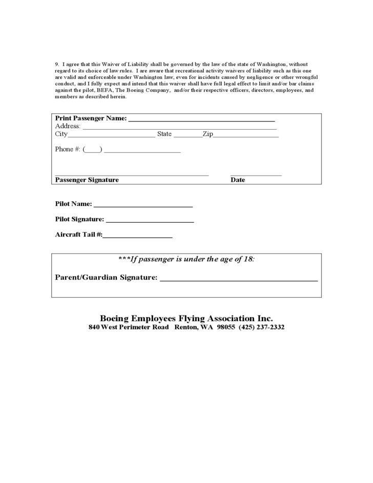 Passenger Waiver of Liability Form Free Download
