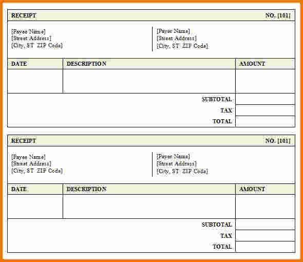 blank hotel receipt template
