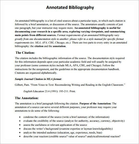Sample Annotated Bibliography - 5+ Documents In Word, PDF