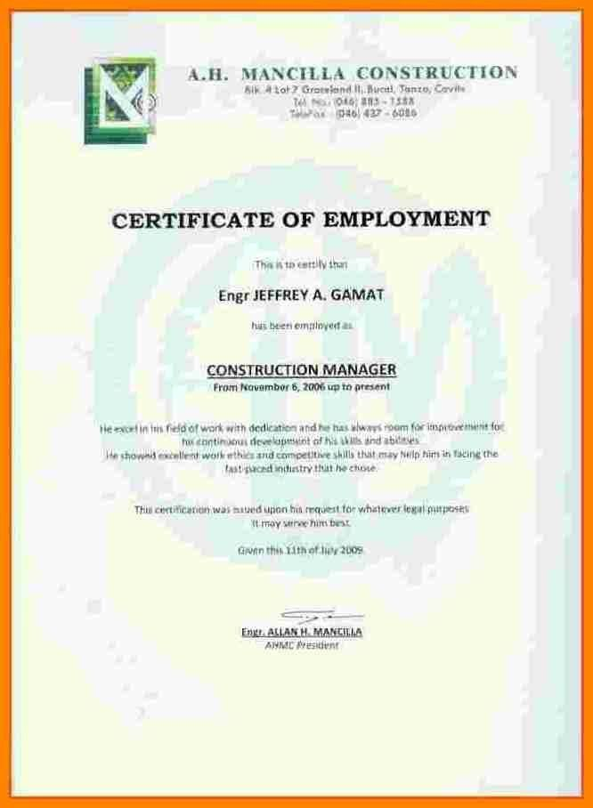 4+ Example of certificate of employment | buyer resume