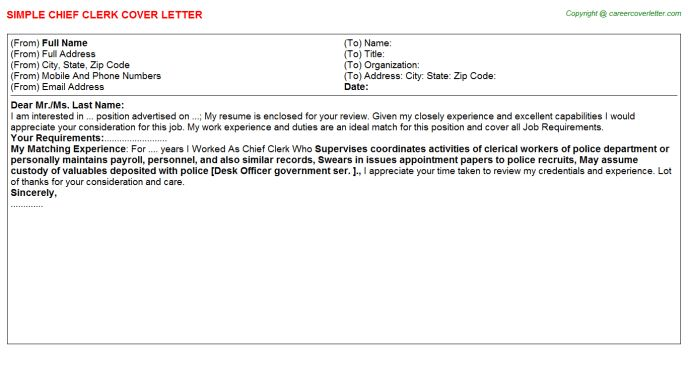 Chief Clerk Cover Letter