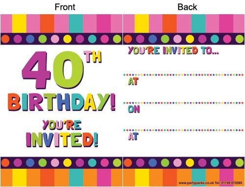 40th birthday invitations printable free | Free Invitations Ideas