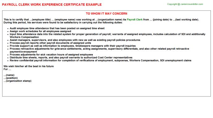 Payroll Clerk Job Title Docs