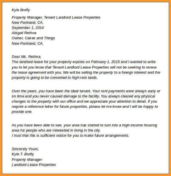 NOTICE OF LEASE TERMINATION LETTER FROM LANDLORD TO TENANT ...