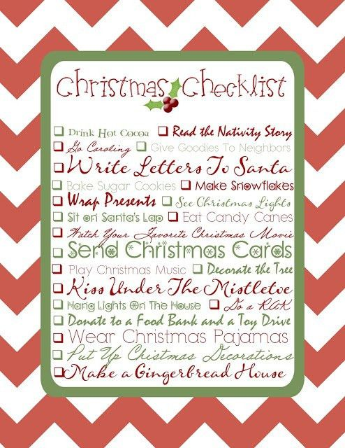 13 best Christmas checklists images on Pinterest | Christmas ...