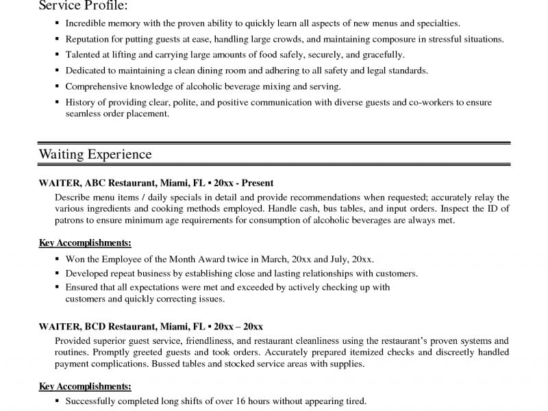 fine dining server resume lane server media and entertainment ...