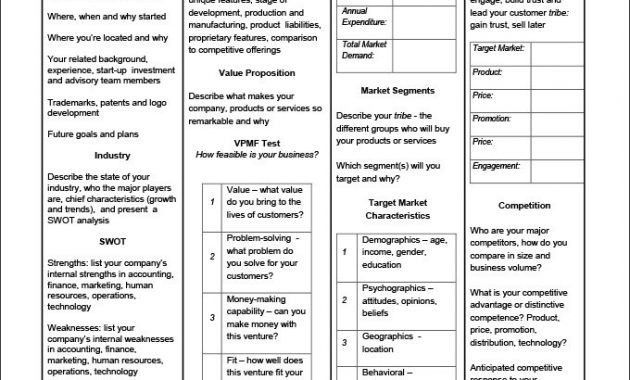 One-Page Business Plan Template – 4 Free Word, Pdf Documents ...