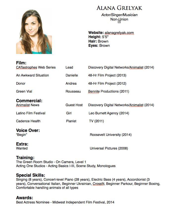 Alana Grelyak – Acting Resume